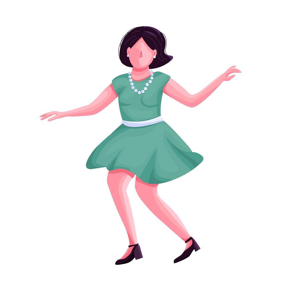 vrouw in retro kleding dansen egale kleur vector anonieme karakter