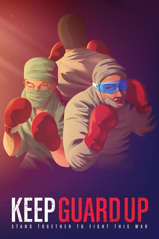bewustmakingsposter om de gezondheidswerkers aan te moedigen die hun leven riskeren aan de frontlinie tijdens de pandemiecrisis vector