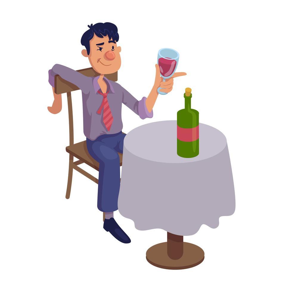 dronken man zittend aan tafel platte cartoon vectorillustratie vector