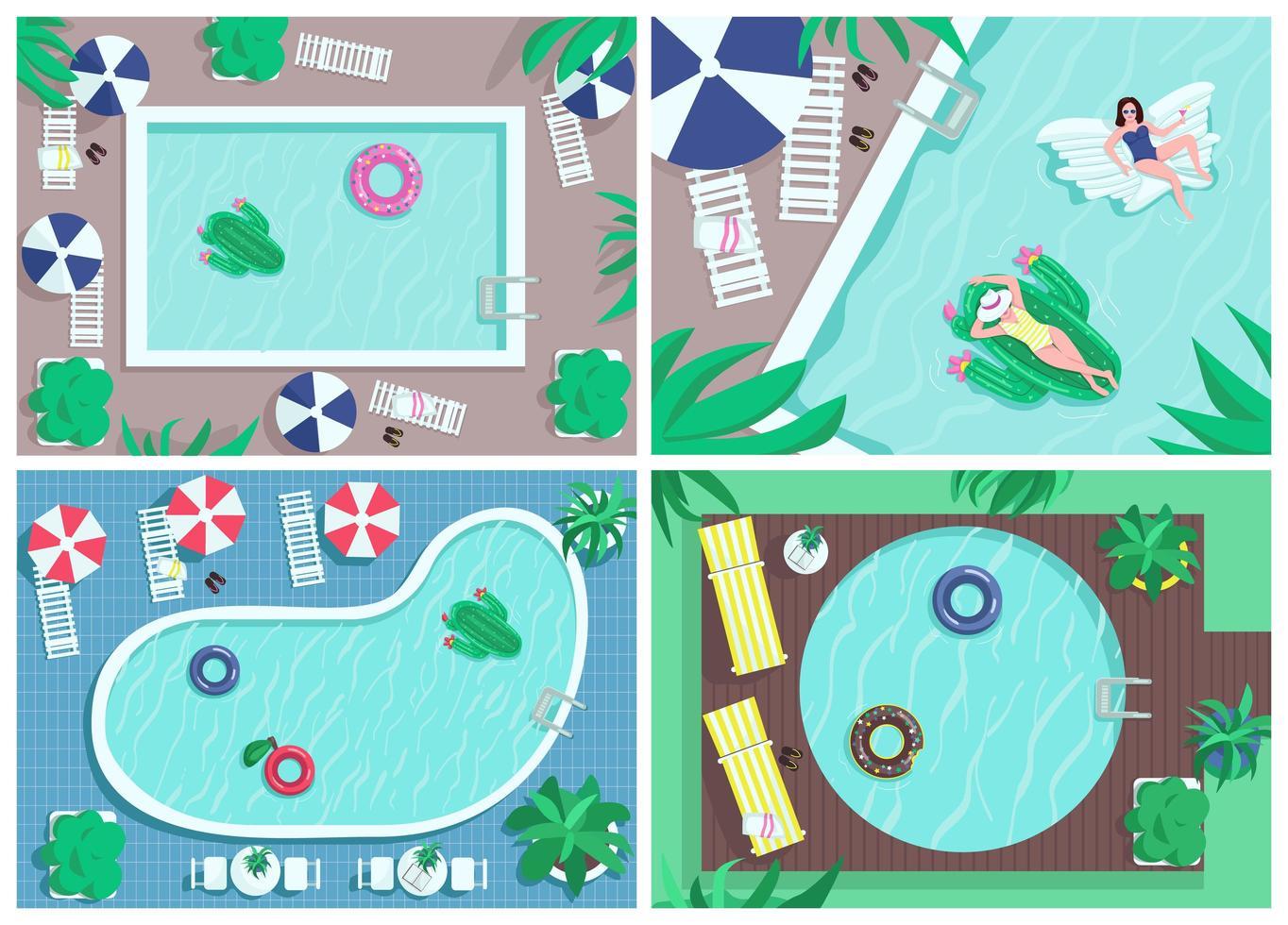 bovenaanzicht zwembad egale kleur vector illustraties set