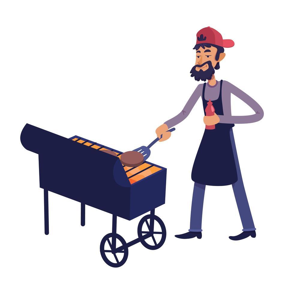 chef-kok grillen van vlees platte cartoon vectorillustratie vector