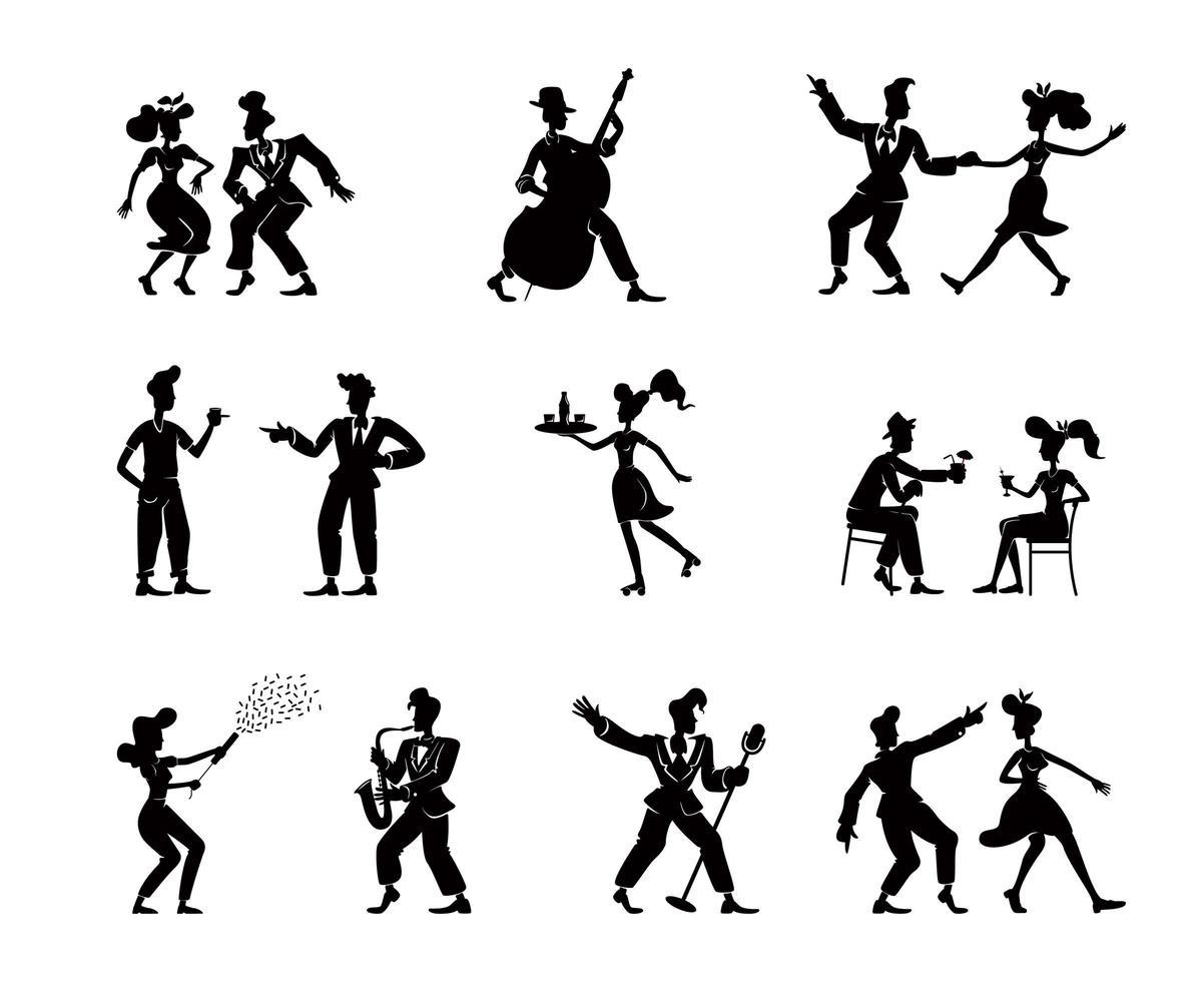 retro vrouwen en mannen zwarte silhouet illustraties kit vector