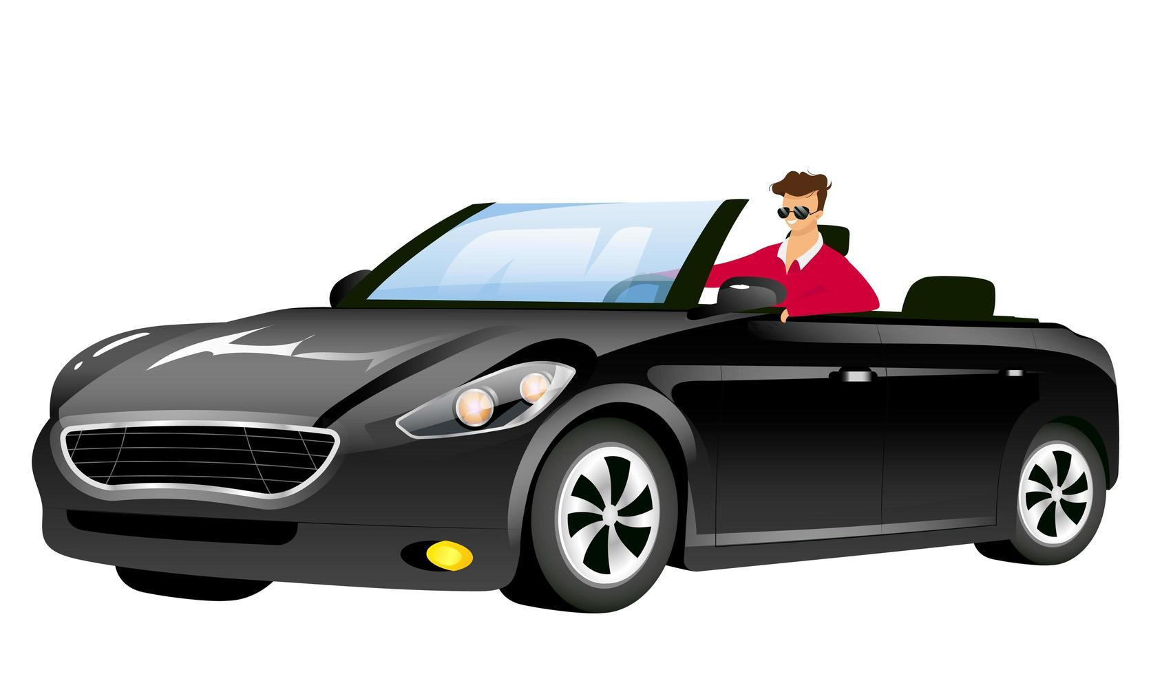 man in cabriolet egale kleur vector gezichtsloos karakter