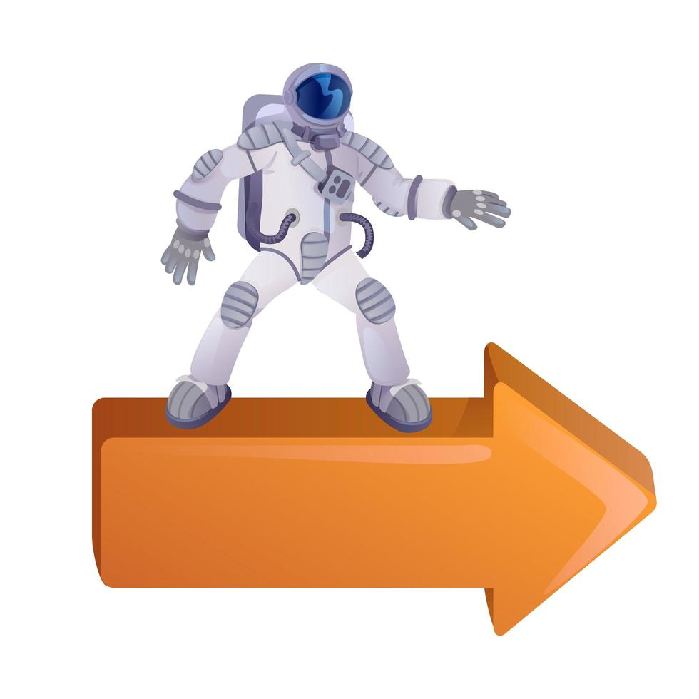 kosmonaut op pijl naar rechts platte cartoon vectorillustratie vector