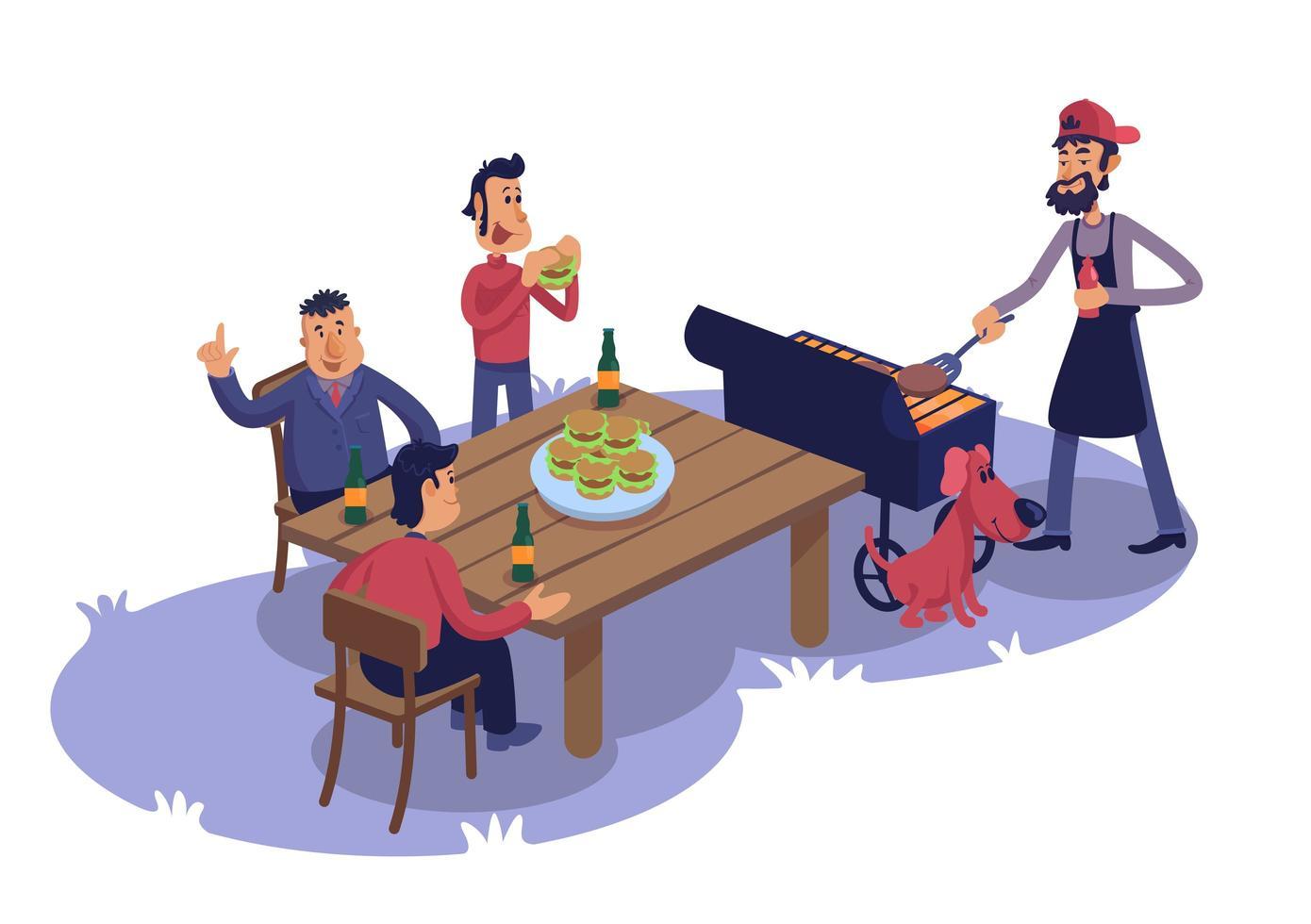 mannelijke vrienden bij barbecue platte cartoon vectorillustratie vector
