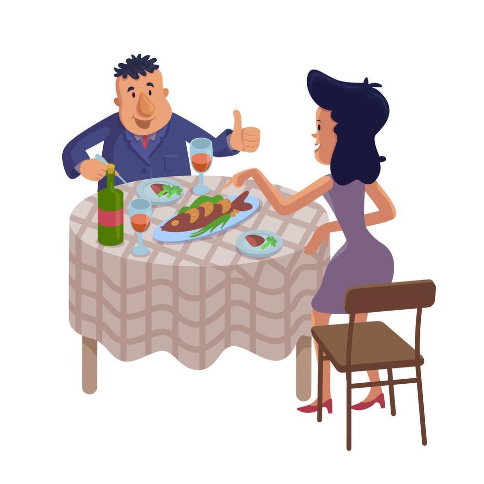 paar eten zelfgemaakte voedsel platte cartoon vectorillustratie vector