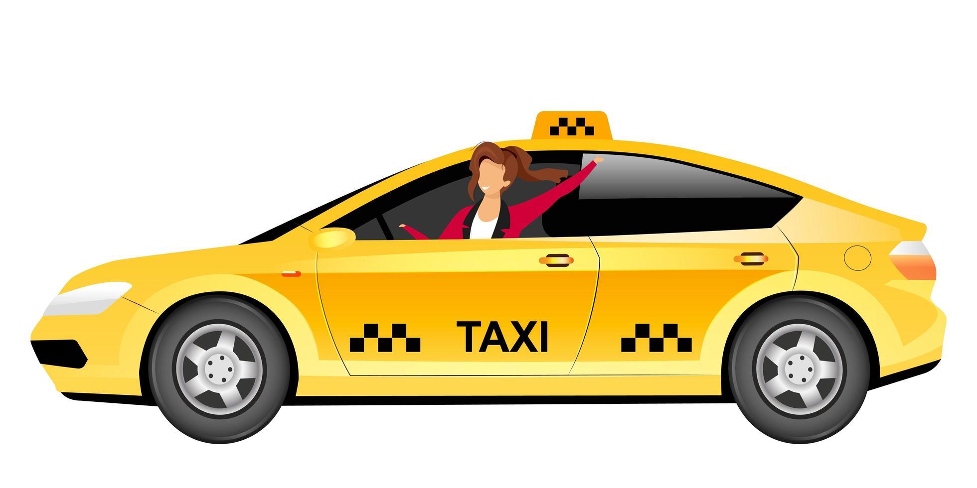vrouwelijke taxichauffeur egale kleur vector anonieme karakter