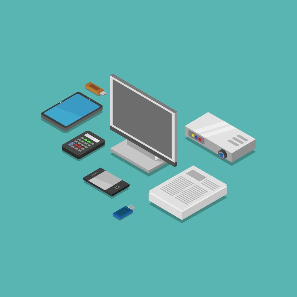isometrische elektronische apparaten en gadgets vector