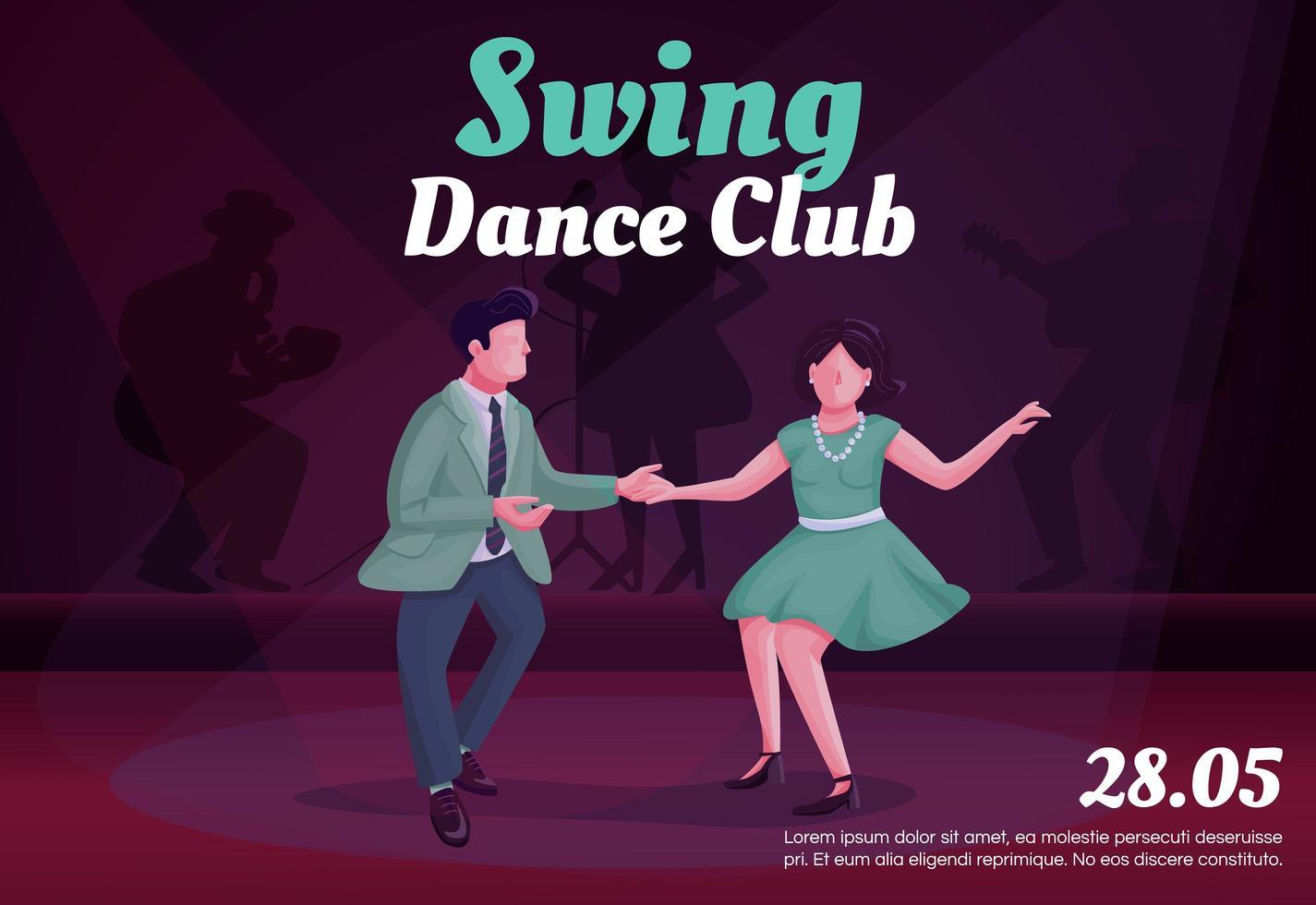 swing dance club banner platte vector sjabloon