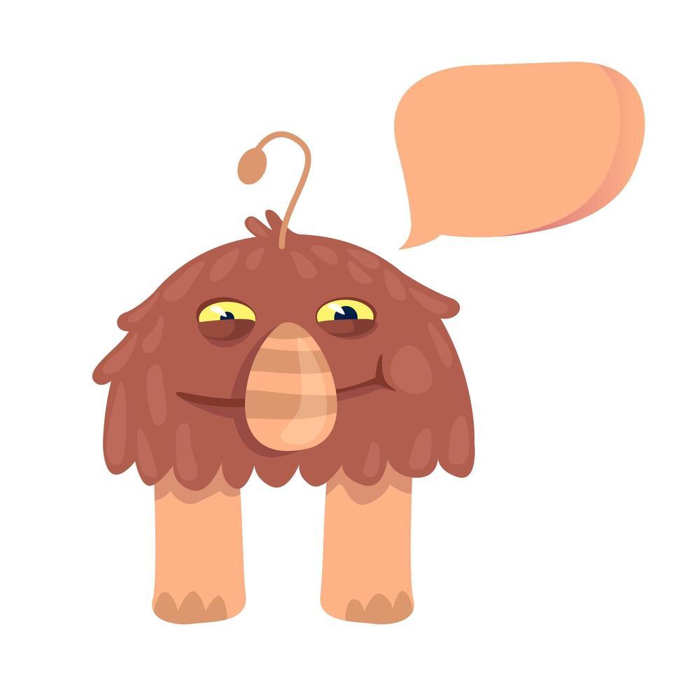 shaggy alien platte cartoon vectorillustratie vector