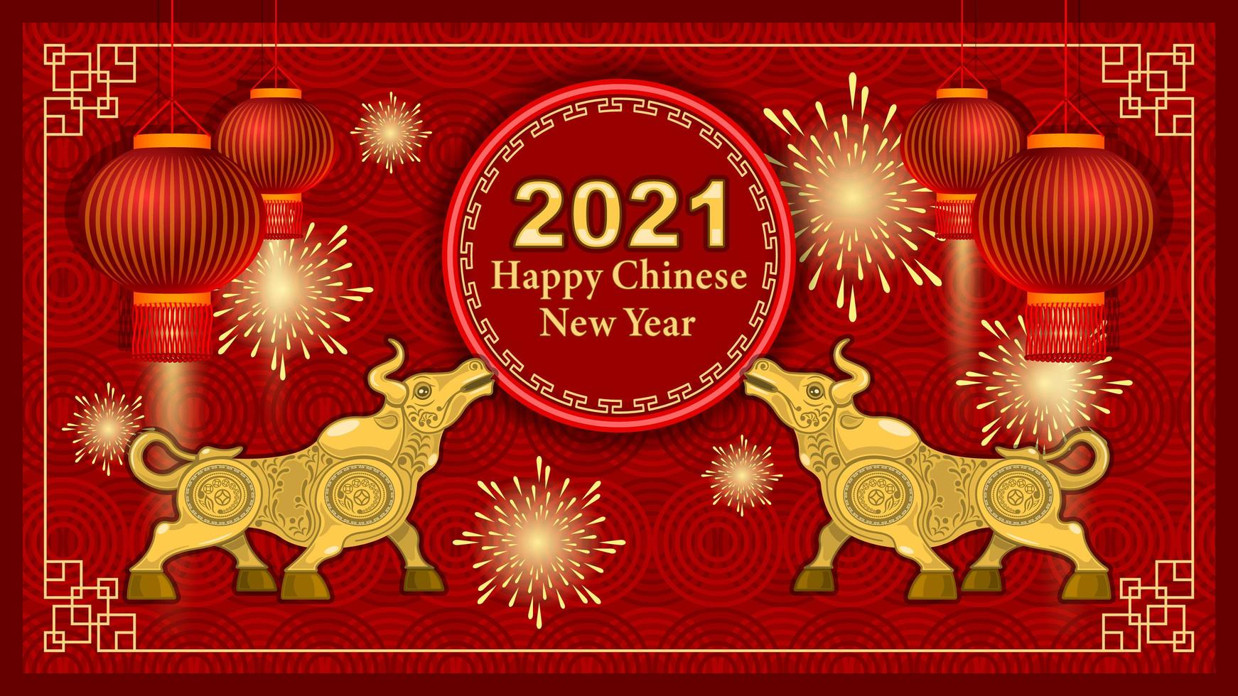 2021 metalen gouden stier en decoratie-elementen op rode achtergrond vector