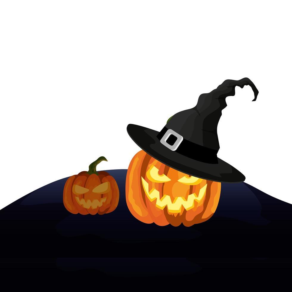 halloween pompoenen met hoed heks vector