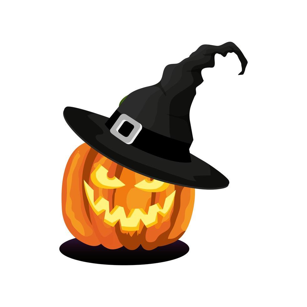 Halloween-pompoen met hoedenheks vector