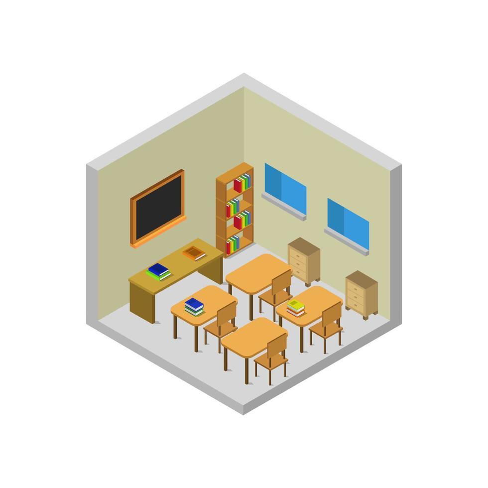isometrisch klaslokaal op witte achtergrond vector