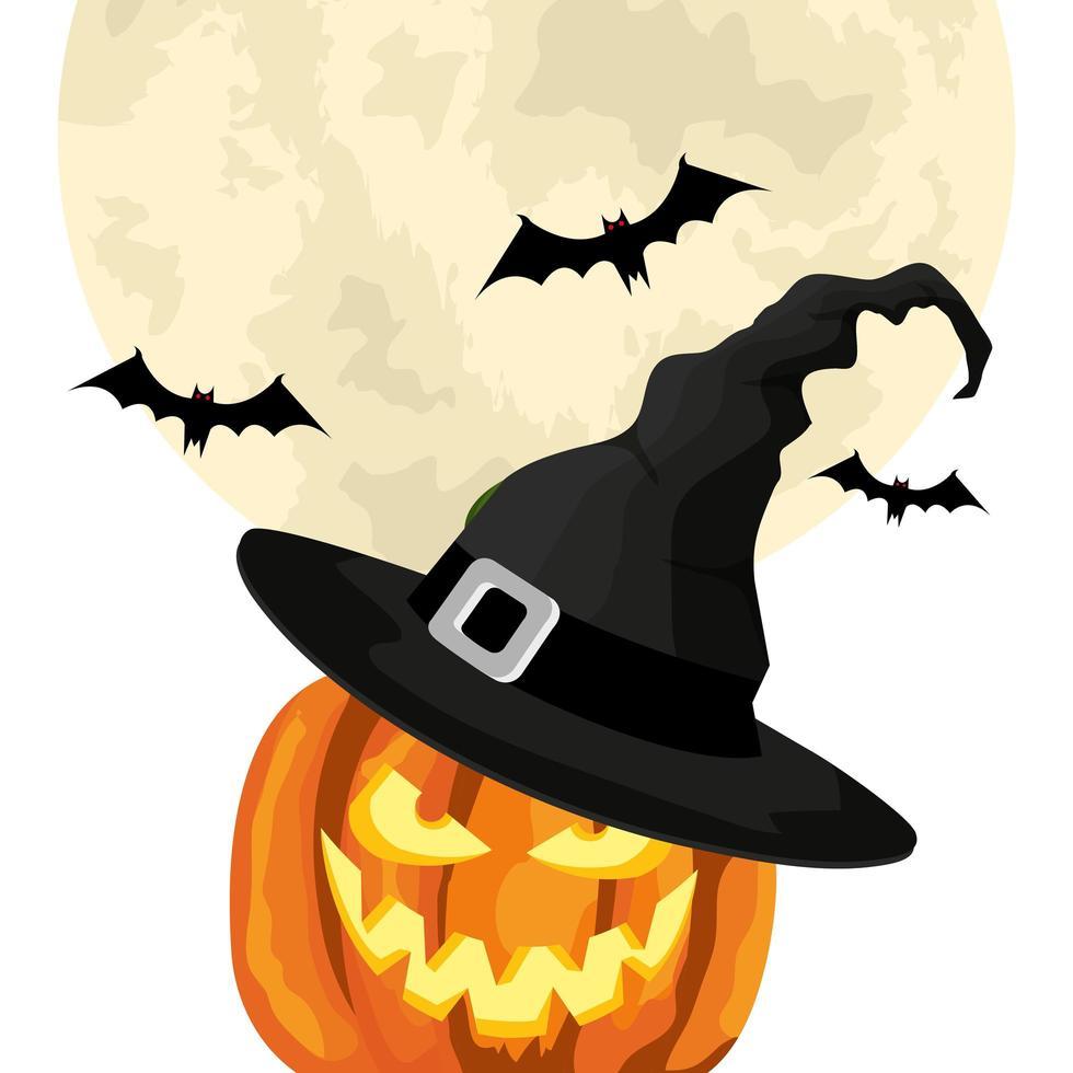 halloween pompoen met hoed heks en vleermuizen vliegen vector
