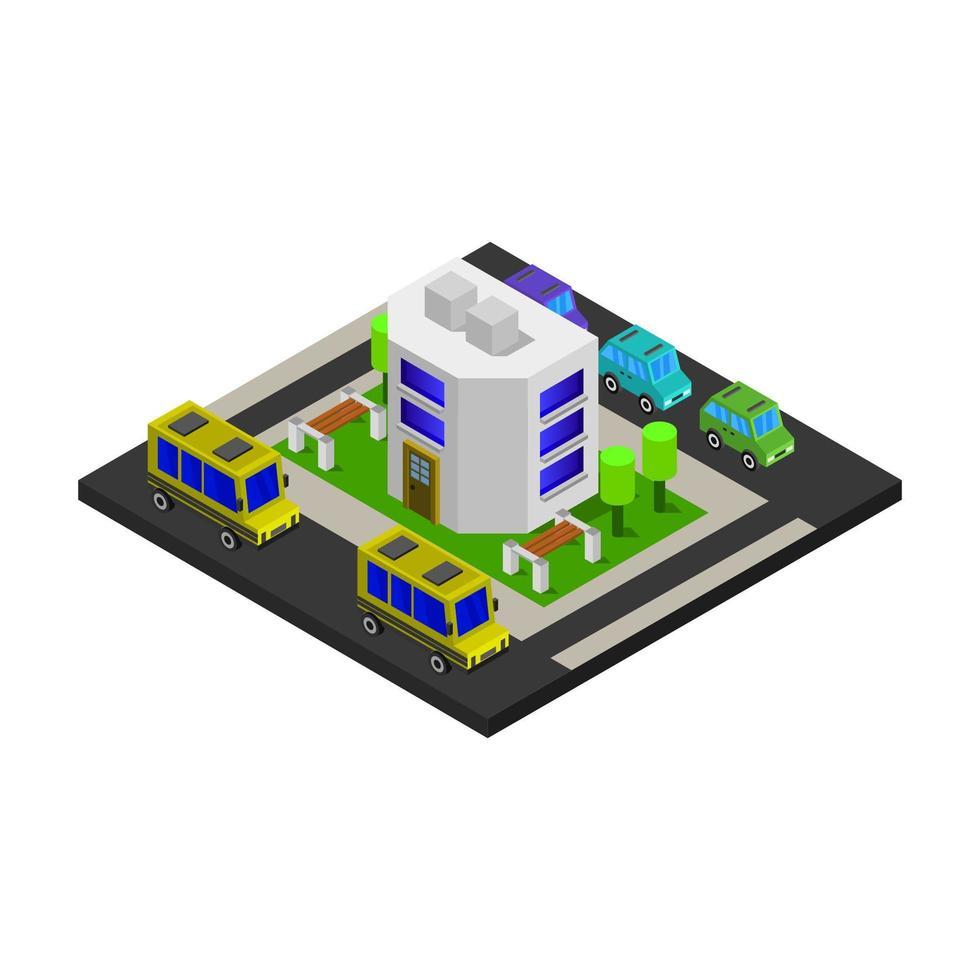 isometrische school geïllustreerd op witte achtergrond vector