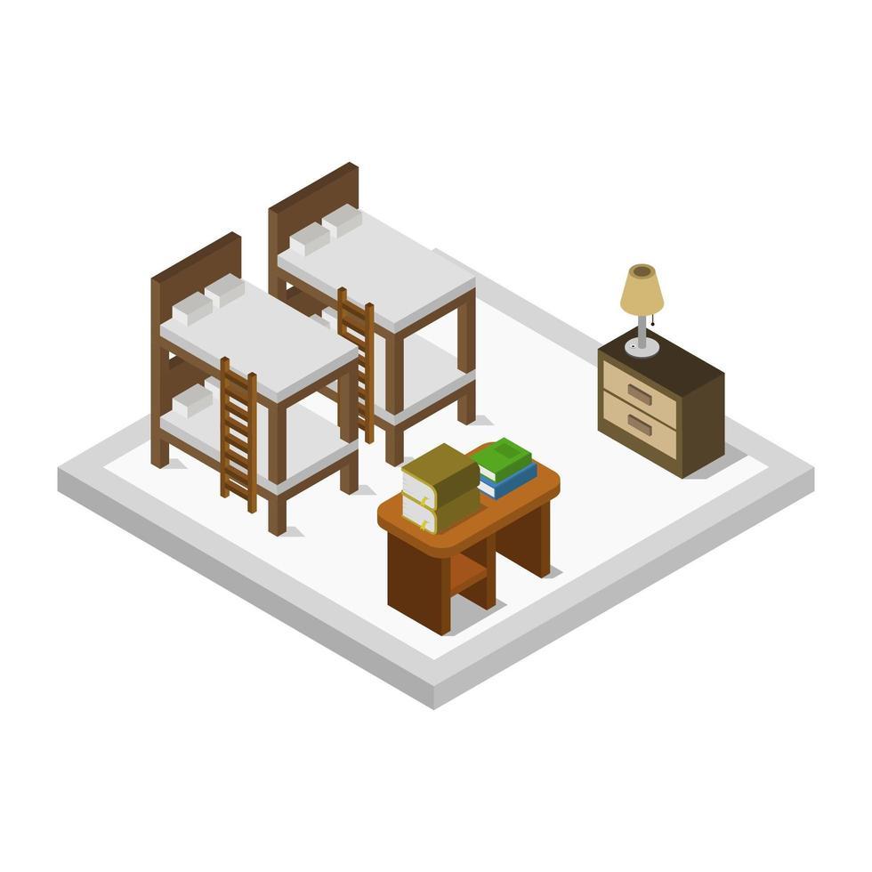 isometrische slaapkamer of hotelkamer vector