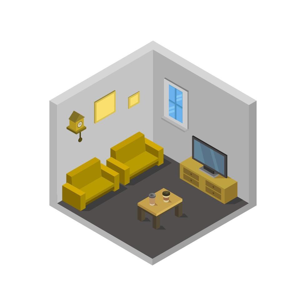 isometrische zitkamer op witte achtergrond vector