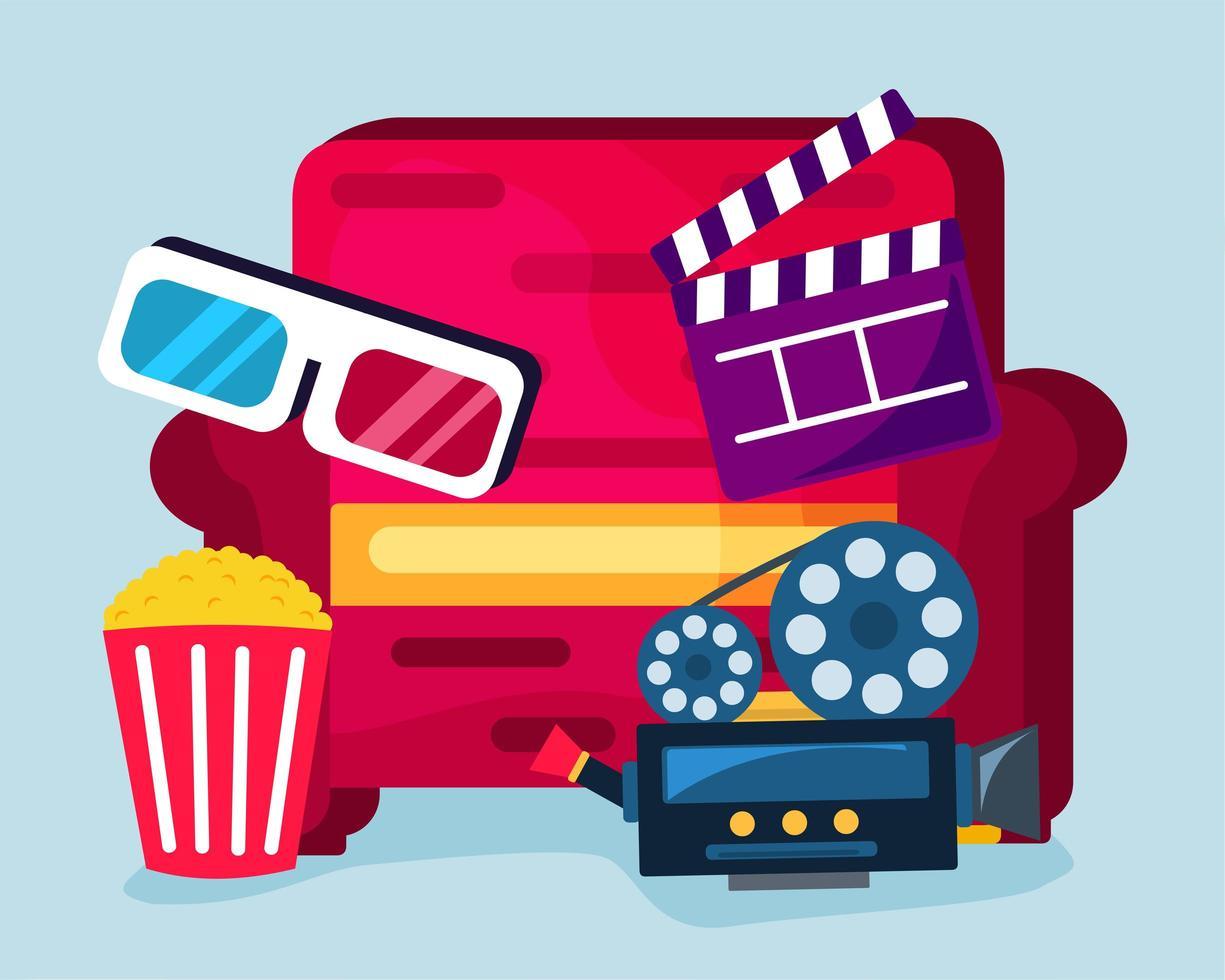 home theater concept illustratie in vlakke stijl vector