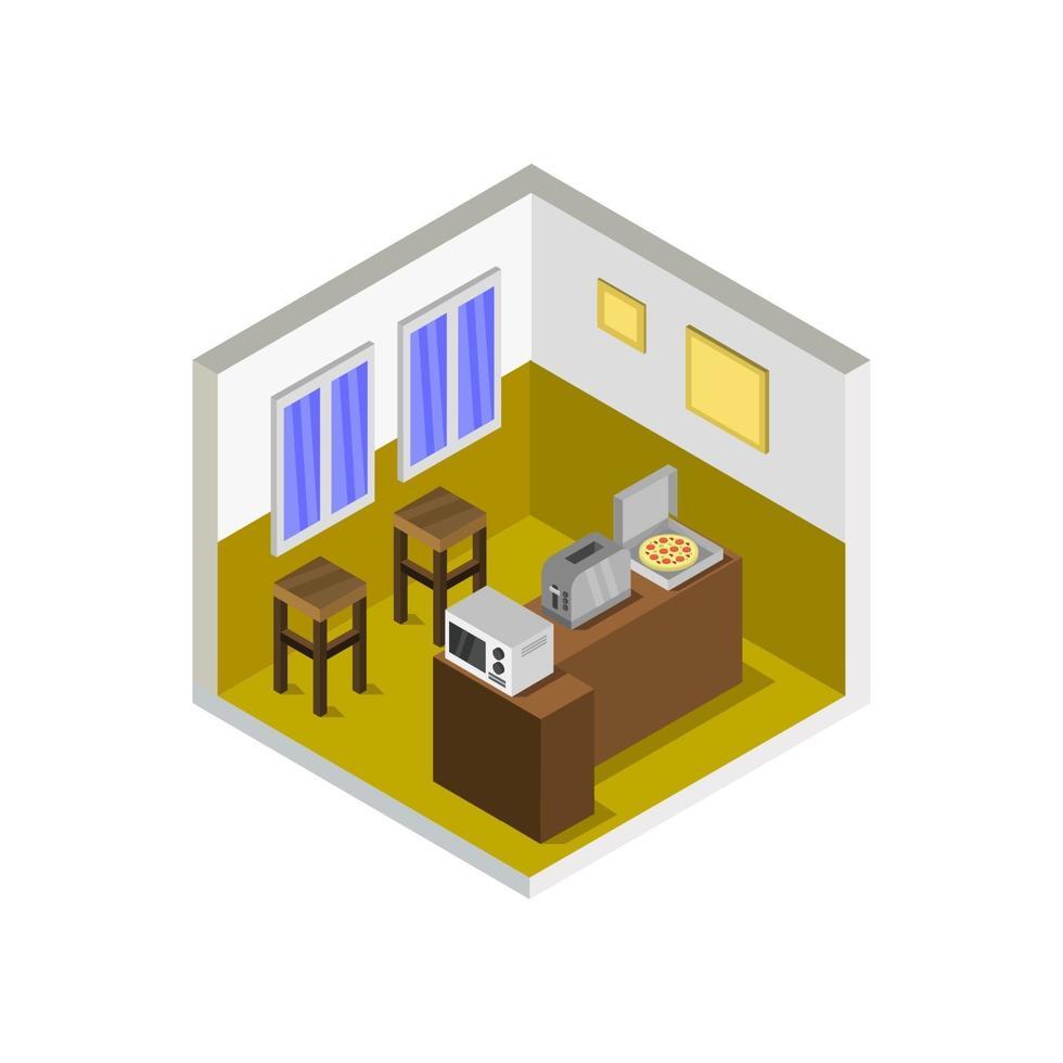 isometrische keukenruimte op witte achtergrond vector