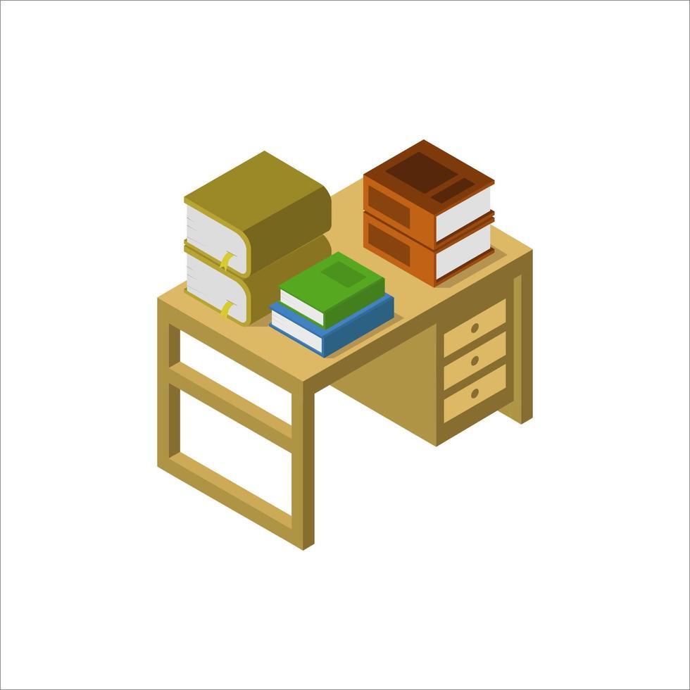 bureau met isometrische boeken op witte achtergrond vector