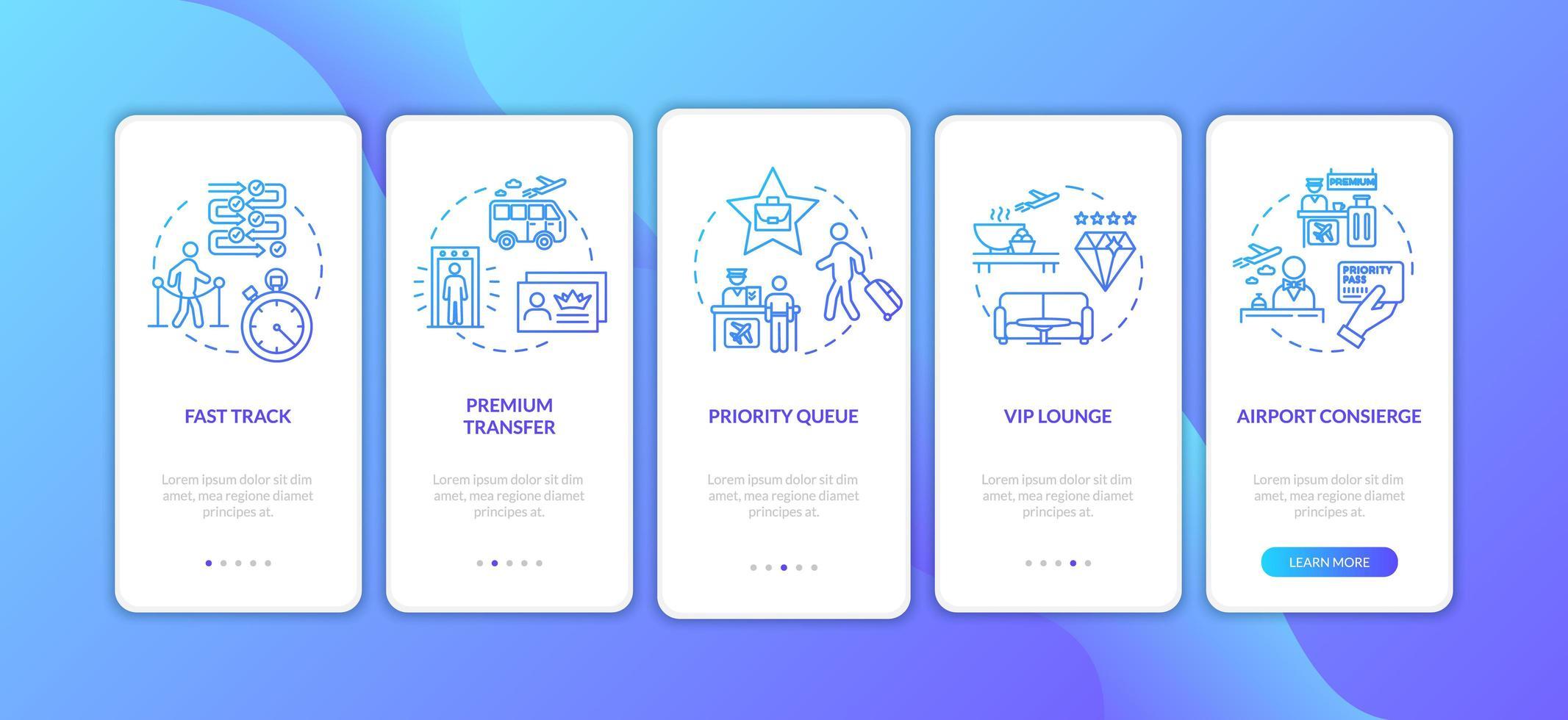 luchthaven premium service onboarding mobiele app-paginascherm met concepten. vector