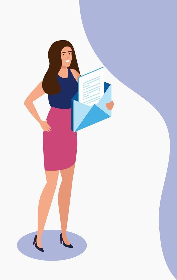 zakenvrouw met envelop avatar karakter vector