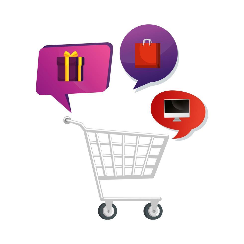 winkelwagen winkelen met set pictogrammen vector