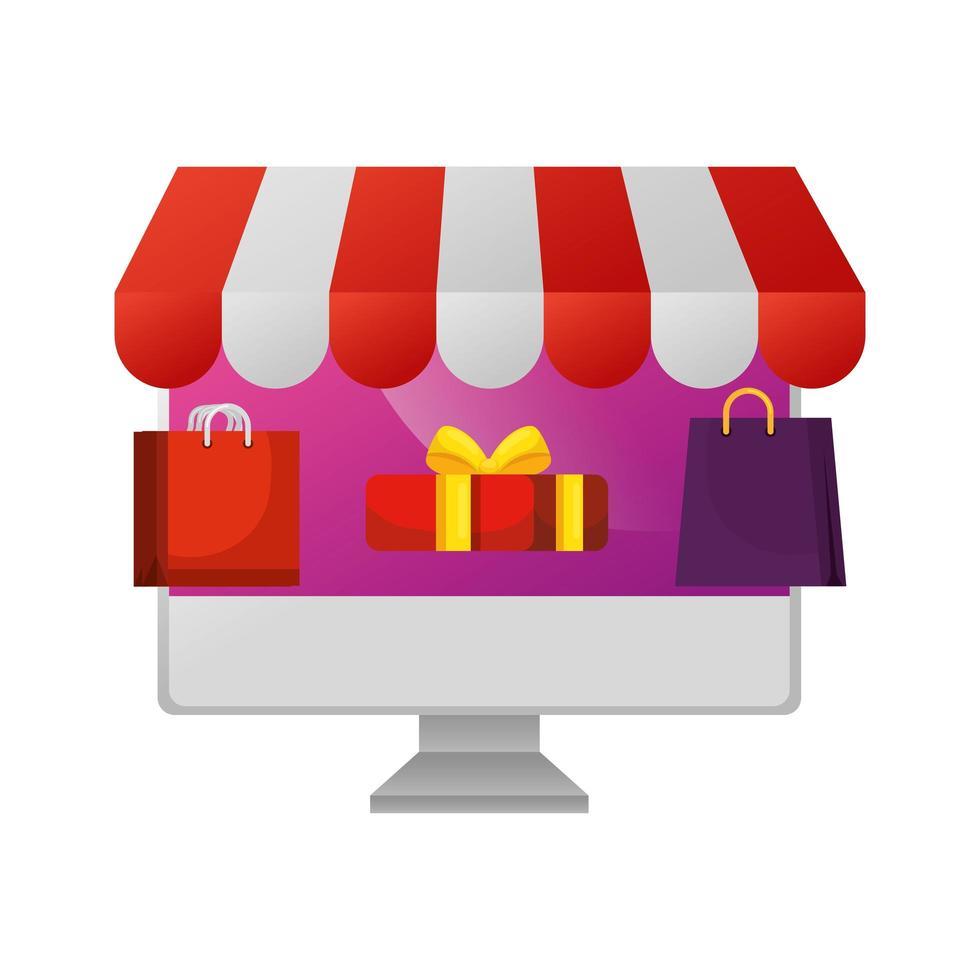 computer met tassen winkelen en geschenkdoos vector