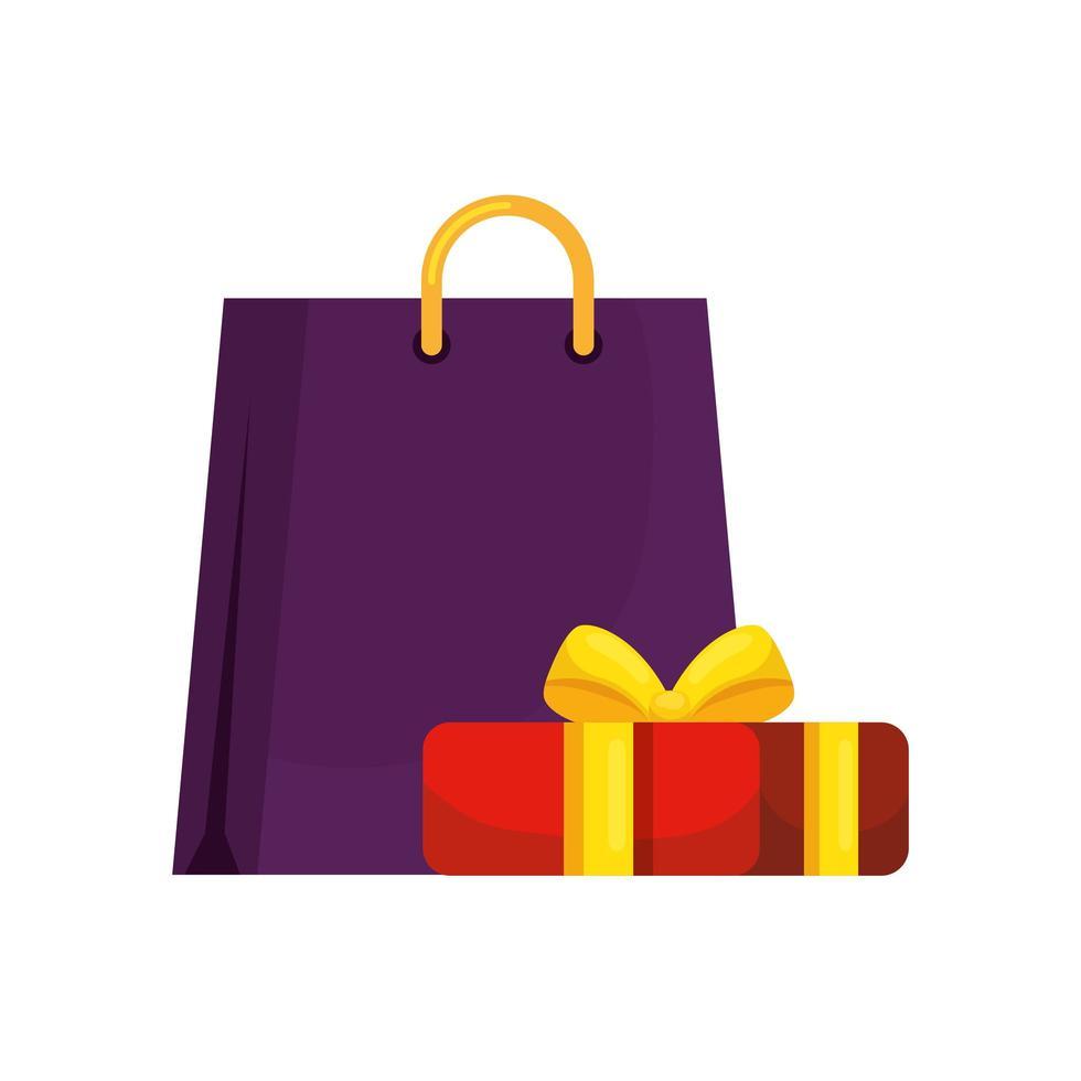 tas winkelen met geïsoleerde geschenkdoos pictogram vector