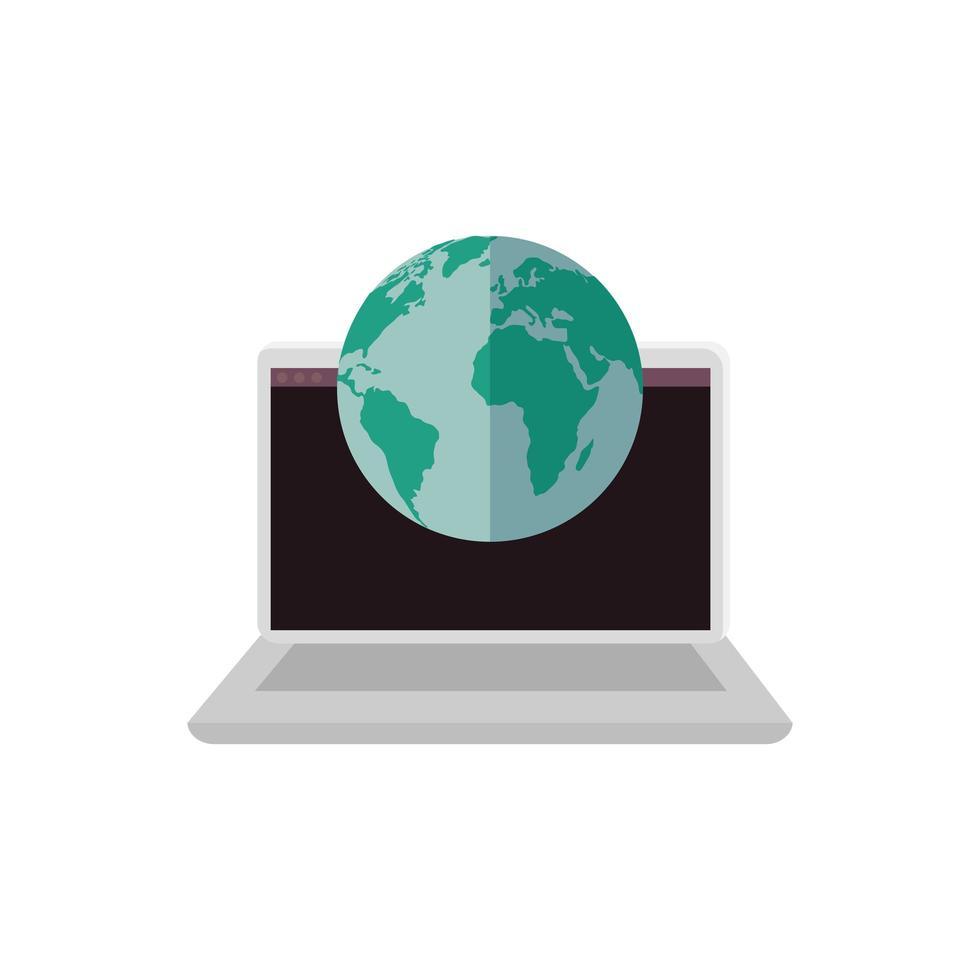 laptop computer met geïsoleerde planeet aarde pictogram vector