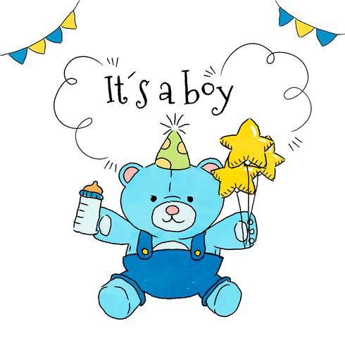 Leuke teddybeer met ballonnen en zuigfles aan babydouche vector