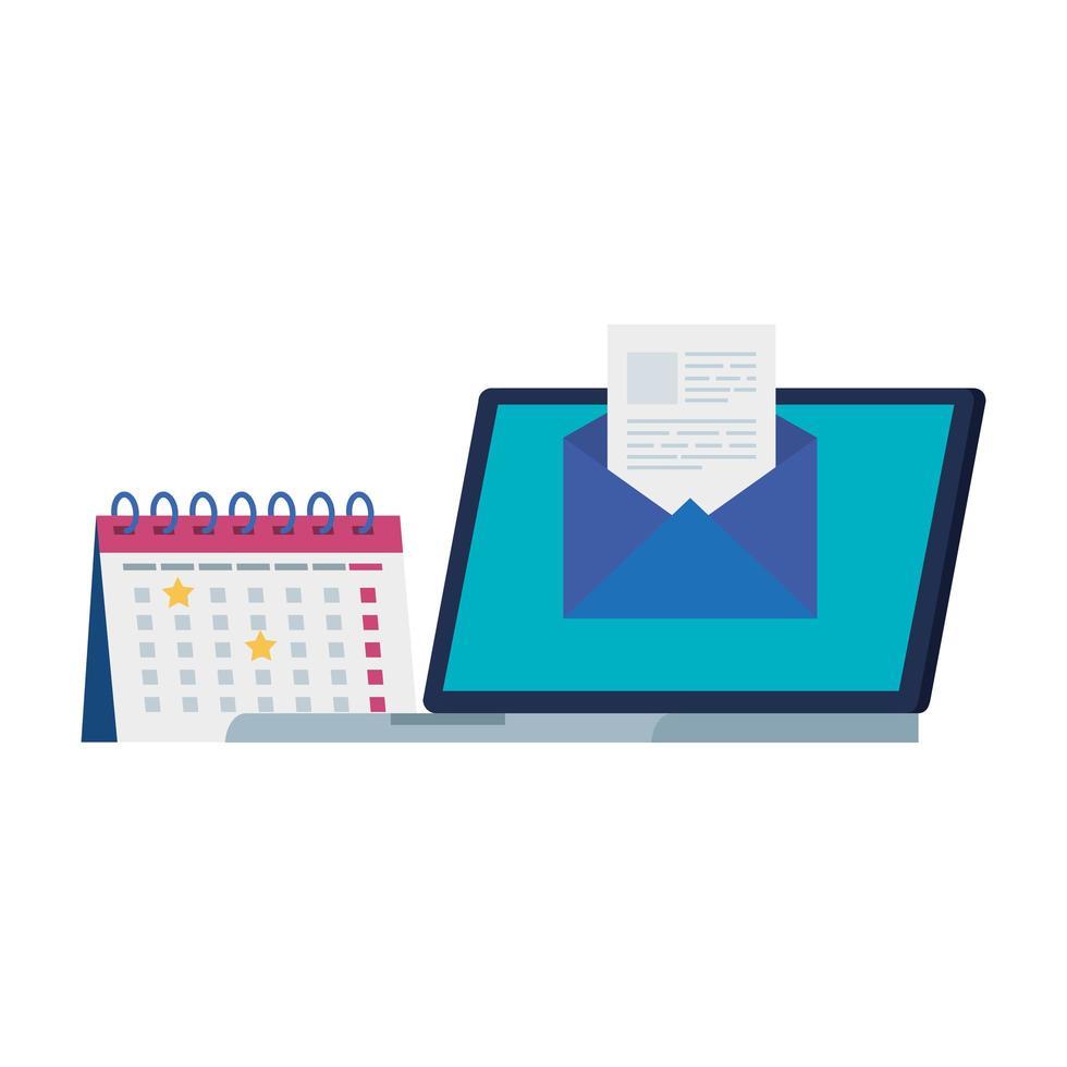 laptop met envelop en kalender vector