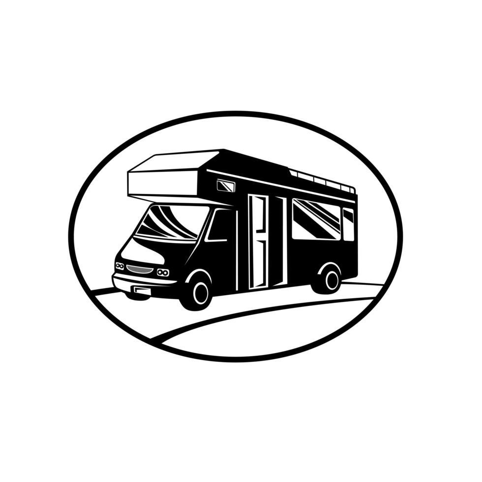 camper of camper zijaanzicht ovaal retro zwart en wit vector