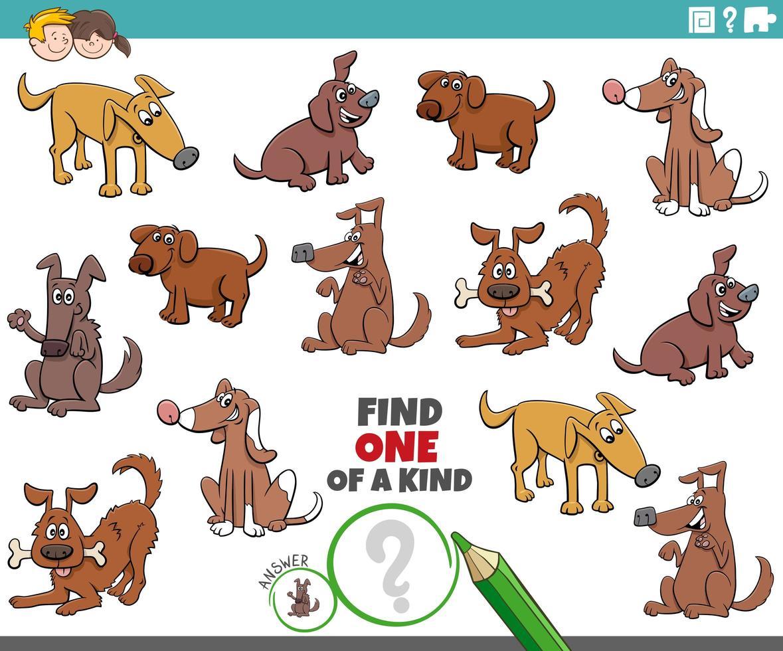 uniek spel voor kinderen met honden en puppy's vector