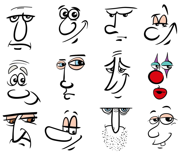 cartoon personen personages gezichten set vector