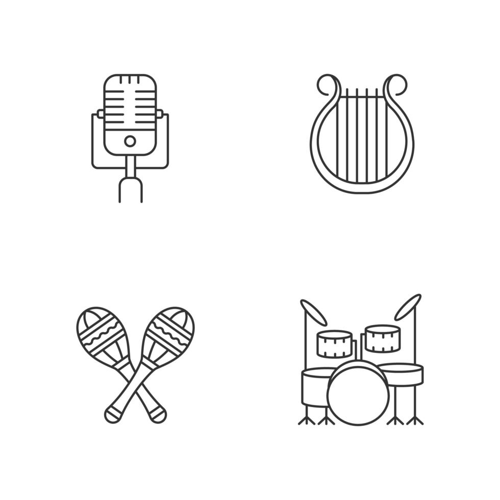 band muziekinstrumenten pixel perfect lineaire pictogrammen instellen vector