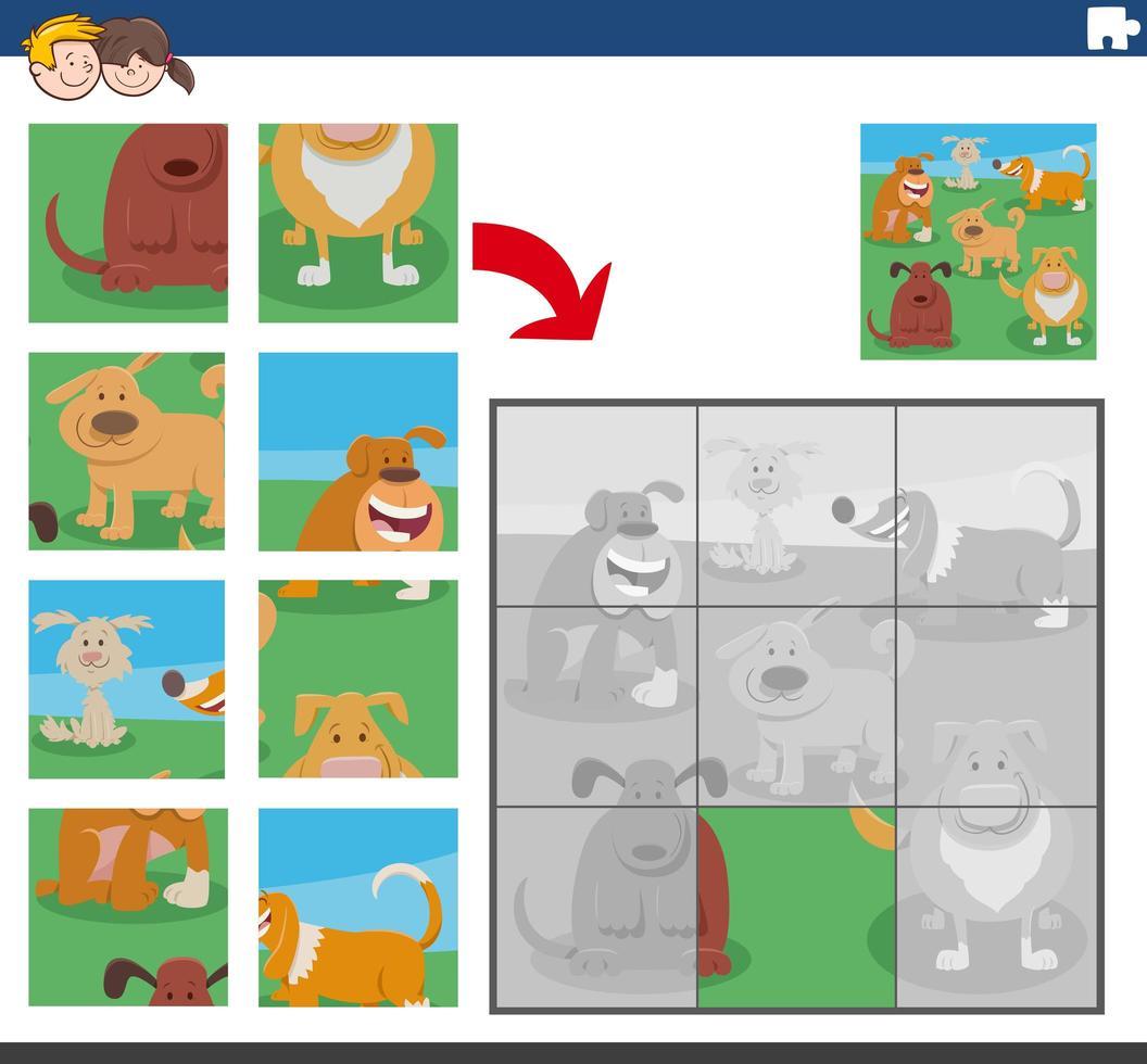 puzzelgame met grappige hondenpersonages vector