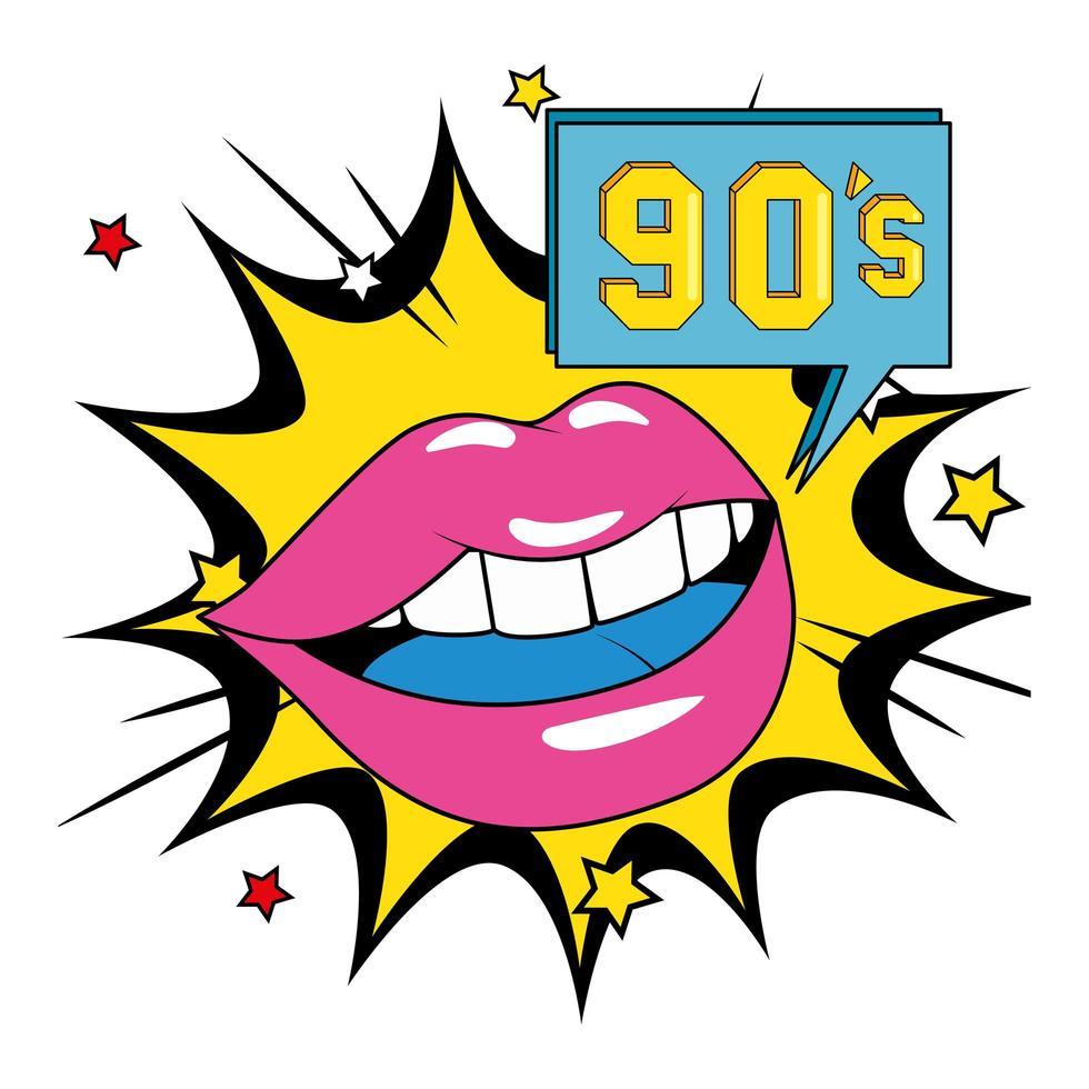 sexy lippen vrouw met jaren negentig teken in explosie popart vector