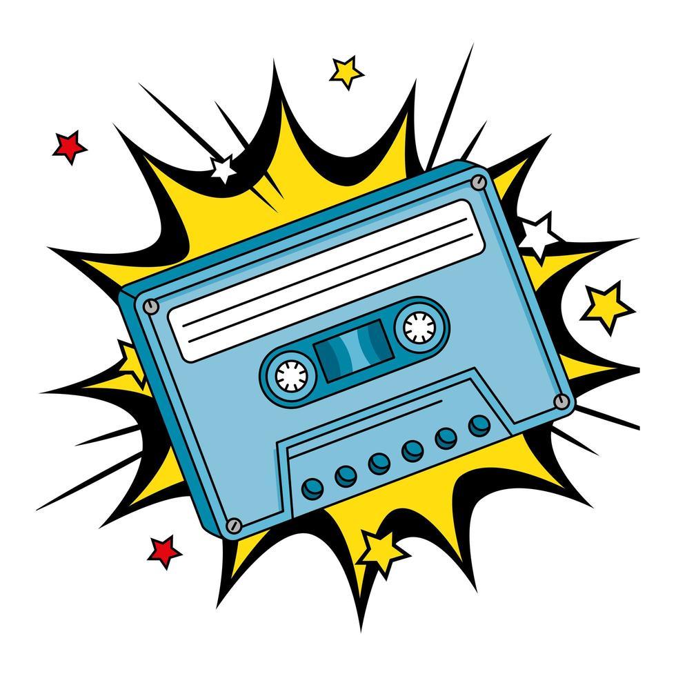 cassette uit de jaren negentig in explosie pop art vector