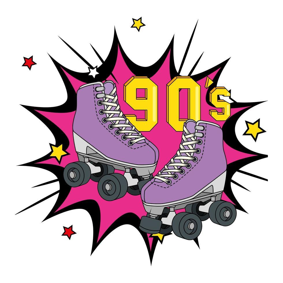 rolschaatsen uit de jaren negentig in explosieve pop-art vector