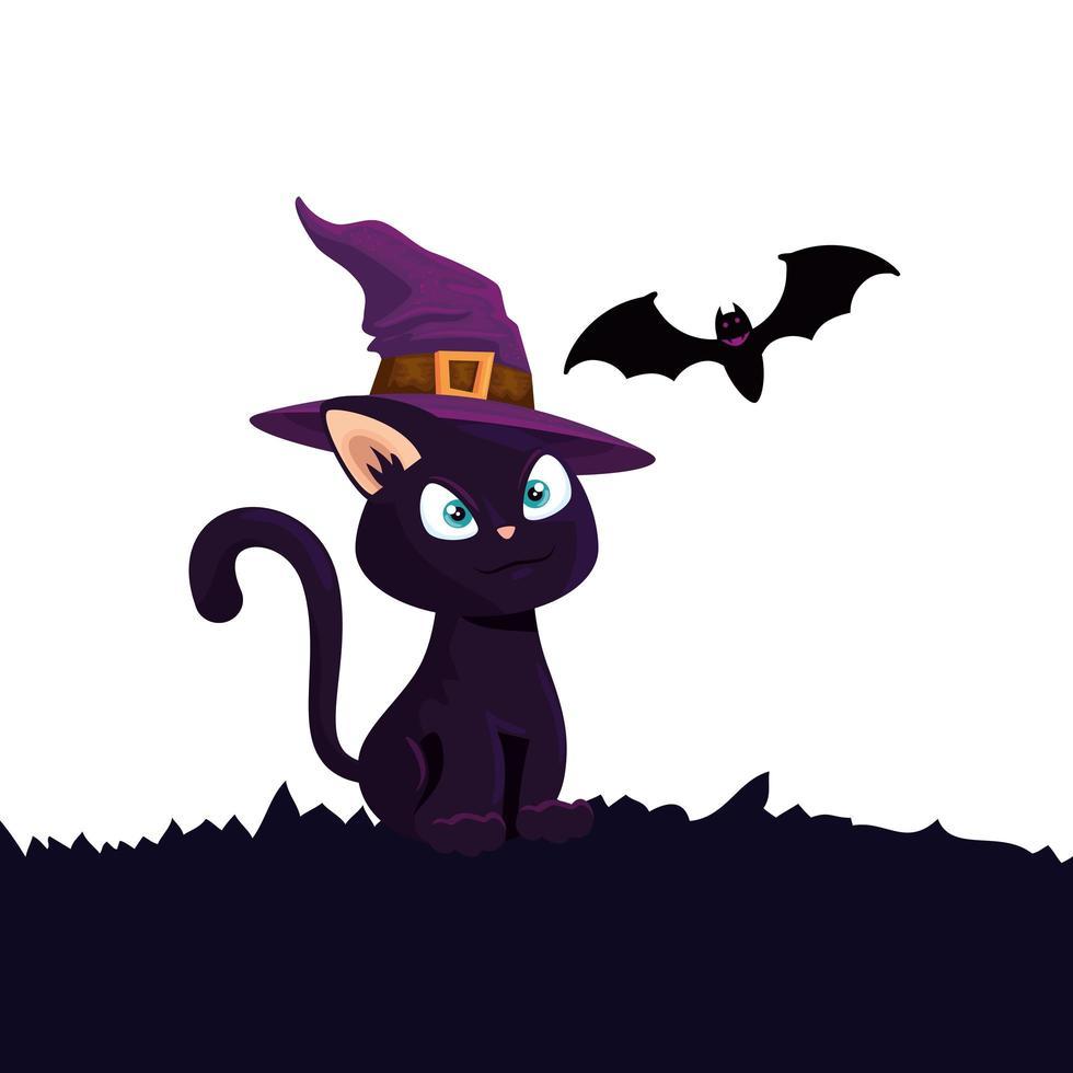 halloween kat met hoed heks en vleermuis vliegen vector