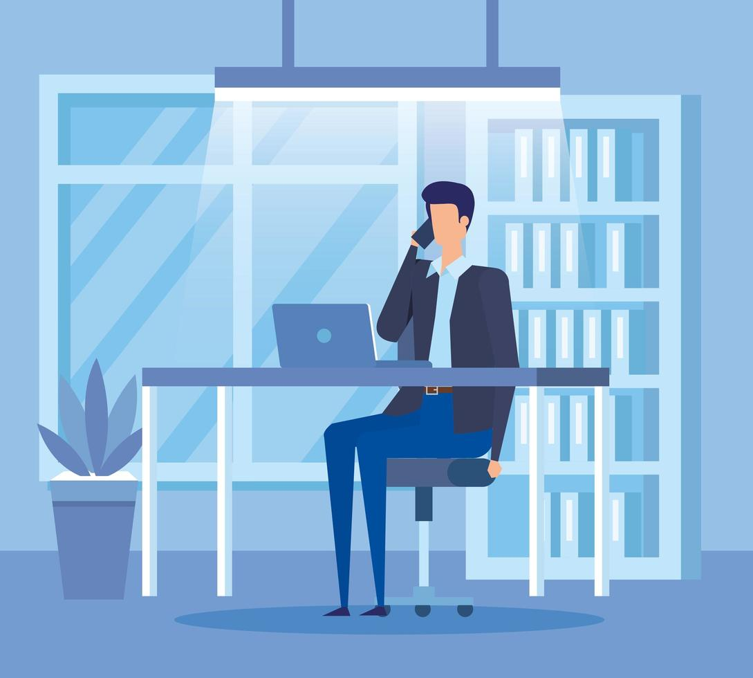 elegante zakenman bellen met smartphone op kantoor vector