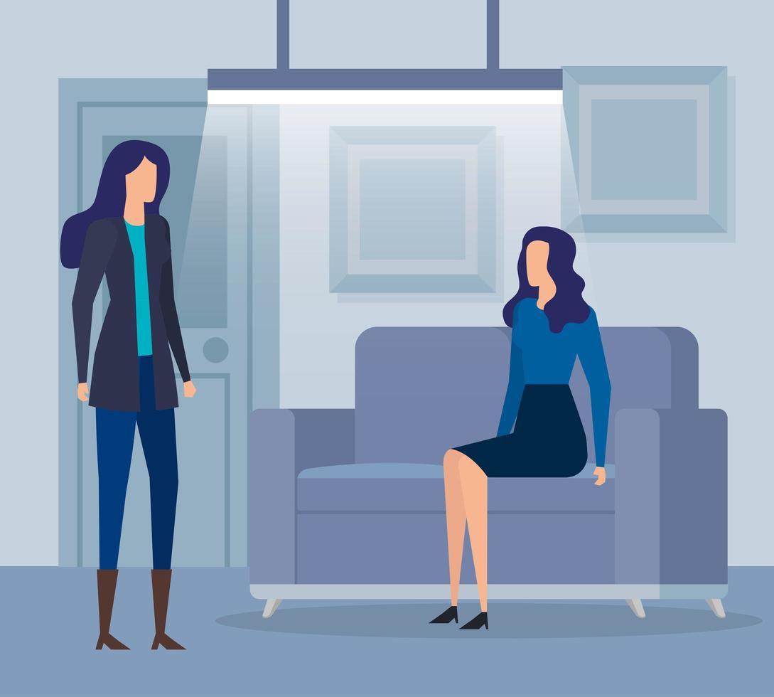 elegante vrouwelijke ondernemers in de woonkamer vector