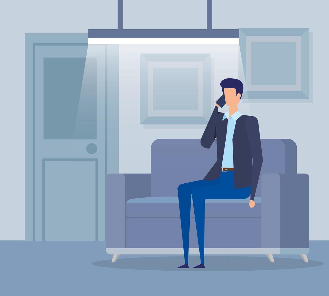 zakenman werknemer bellen met smartphone in de woonkamer vector