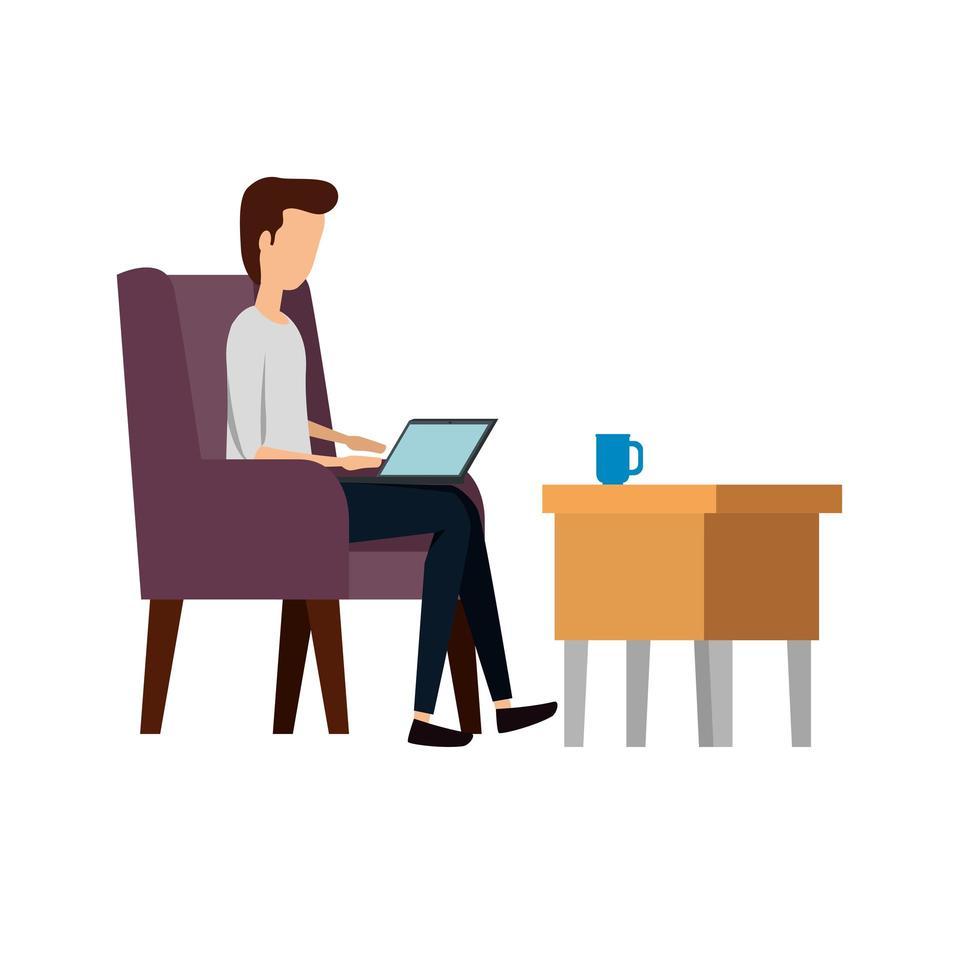 zakenman werknemer in de bank met behulp van laptop vector