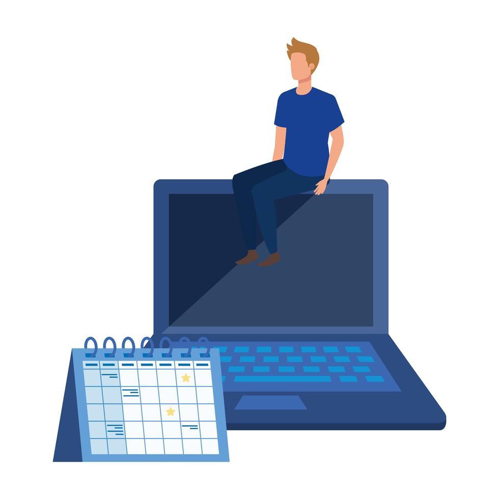 jonge man met laptop karakter vector