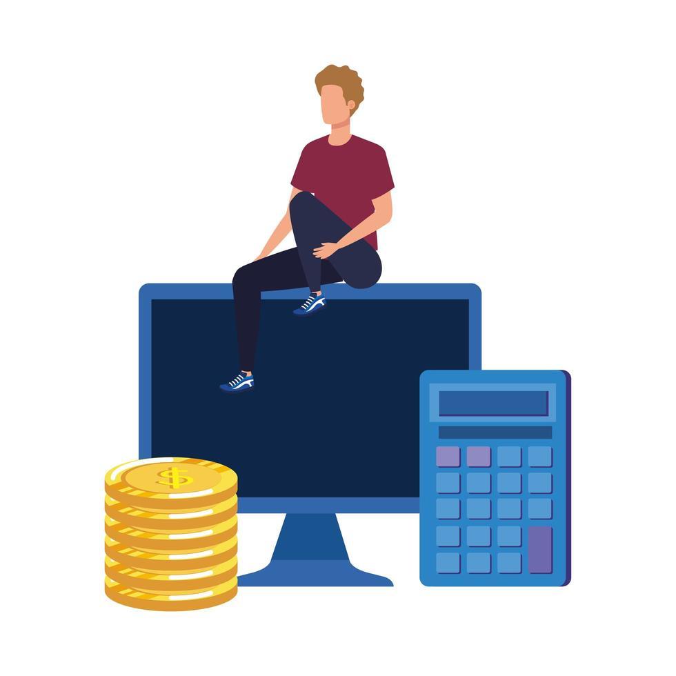 jonge man met desktopkarakter vector