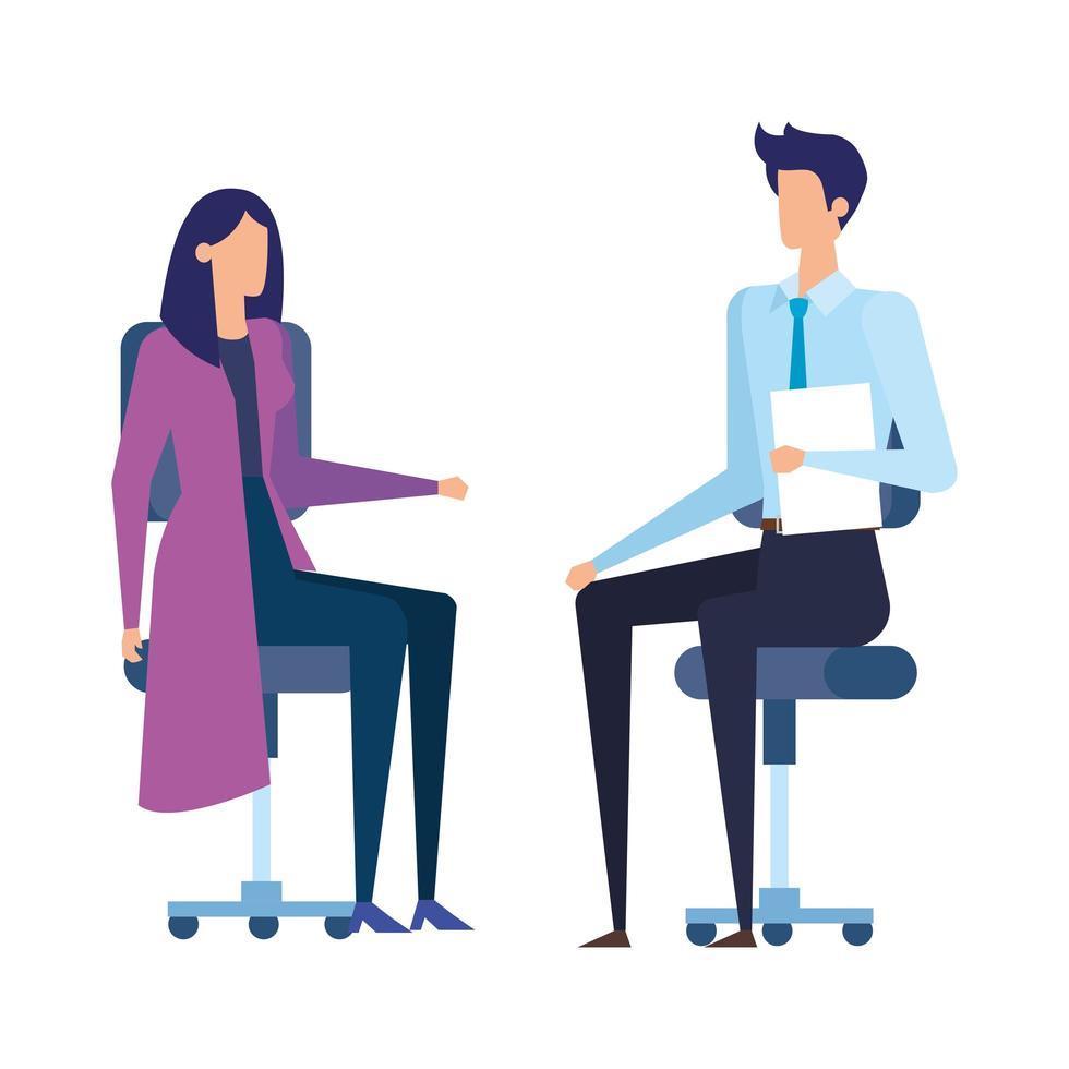 elegante bedrijfspaararbeiders in bureaustoelen vector