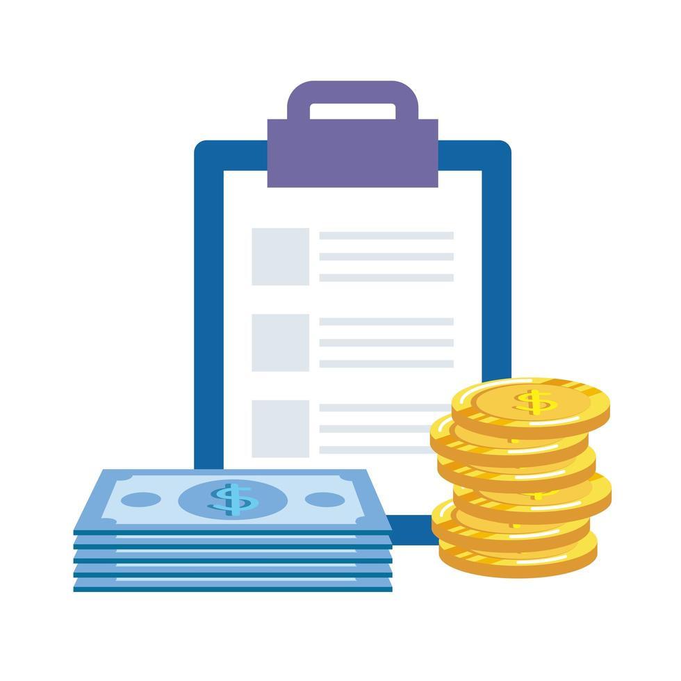 munten geld dollars met checklist en rekeningen vector